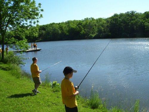 自然の中で釣り
