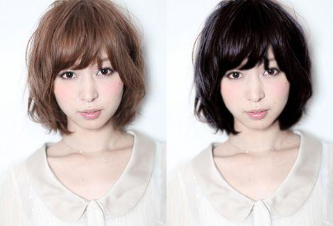 黒髪と茶髪の比較